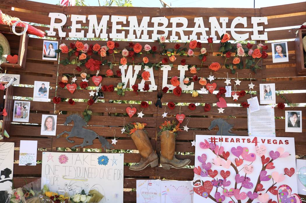 """The """"Remembrance Wall"""" at the Community Healing Garden in Las Vegas, Saturday, Oct. 7, 2017. The city of Las Vegas dedicated the new healing garden to victims of Sunday's shooting. Gilbert Manzano ..."""
