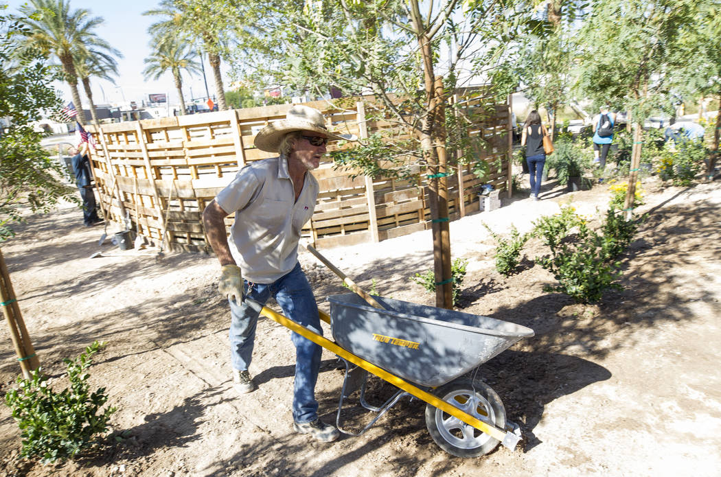 Las Vegas native and construction worker Lyle Hoffman, 58, pushes a wheelbarrow as he volunteers at an under-construction community healing garden located at South Casino Center and East Charlesto ...