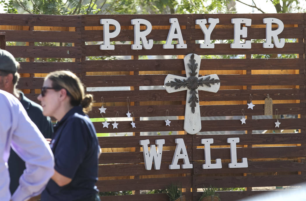 The prayer wall at an under-construction community healing garden located at South Casino Center and East Charleston boulevards in downtown Las Vegas, Thursday, Oct. 5, 2017. The garden is a memor ...
