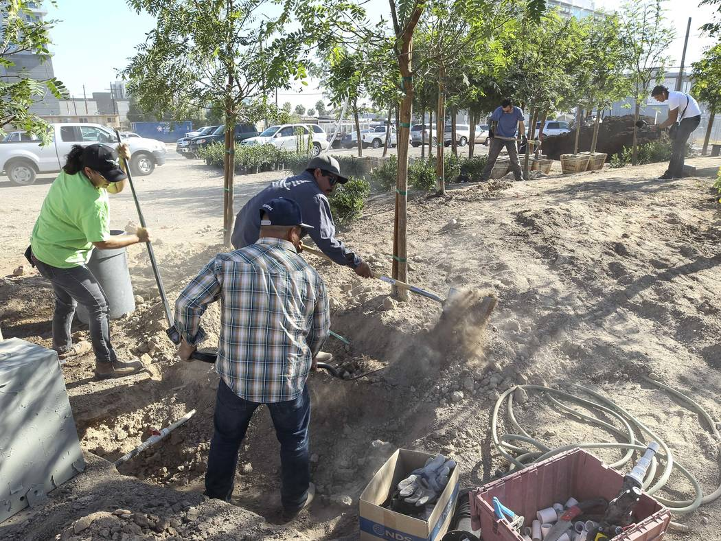 Landscapers and volunteers shovel dirt at an under-construction community healing garden located at South Casino Center and East Charleston boulevards in downtown Las Vegas, Thursday, Oct. 5, 2017 ...