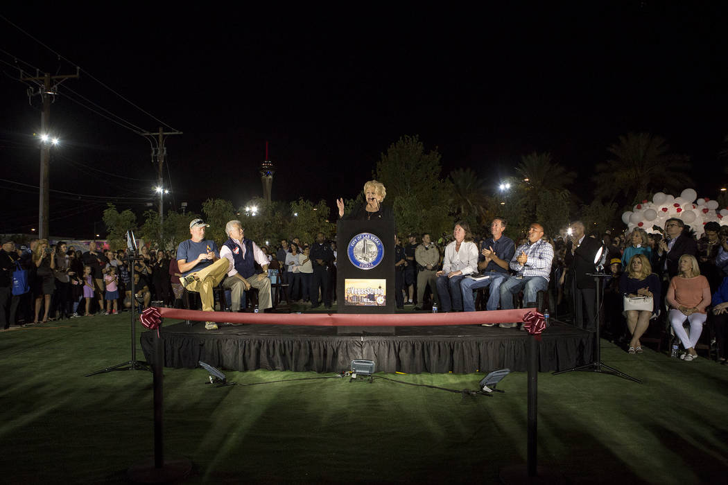 Las Vegas mayor Carolyn Goodman speaks at the Community Healing Garden in Las Vegas, Friday, Oct. 6, 2017. The city of Las Vegas dedicated the new healing garden to victims of Sunday's shooting. B ...