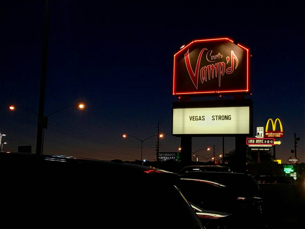 The sign in front of Count's Vamp'd Rock Bar & Grill is pictured Oct. 5. Members of Megadeth and others pitched in for a fundraising event for The Firefighters of Southern Nevada Burn Foundati ...