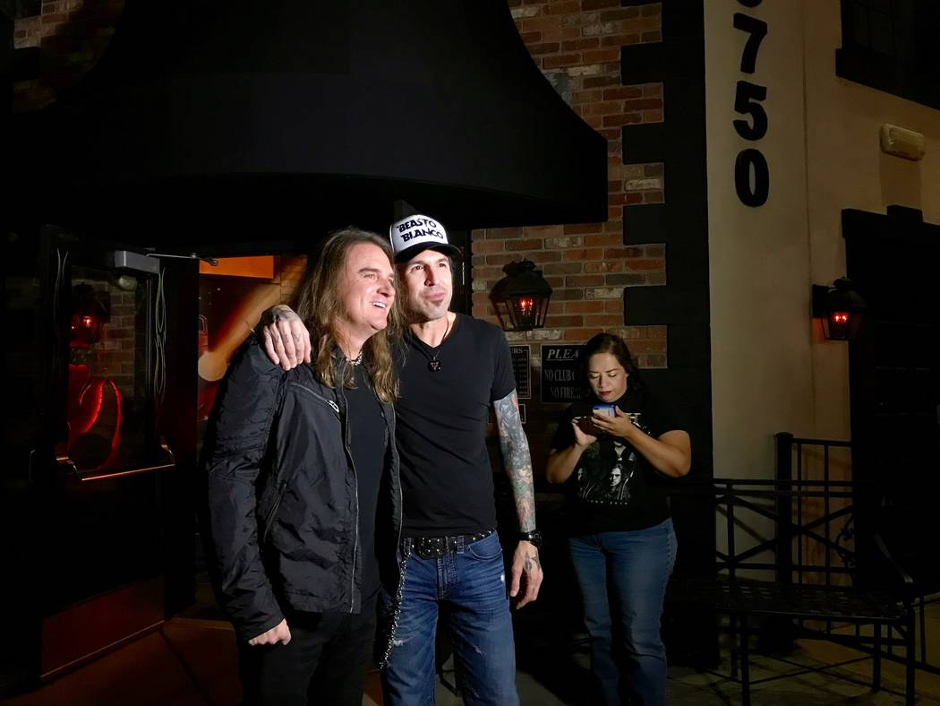 David Ellefson, bassist for metal band Megadeth, left, poses for a photo with Phil Varone, a founding and former member of Saigon Kick. (Madelyn Reese/View) @MadelynGReese