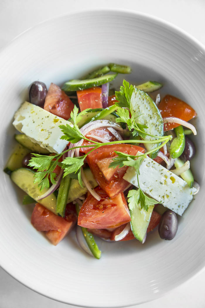 The horiatiki salad with tomato, feta, Kalamata olives, green peppers and oregano at Elia on Wednesday, October 11, 2017, in Las Vegas. Benjamin Hager Las Vegas Review-Journal @benjaminhphoto
