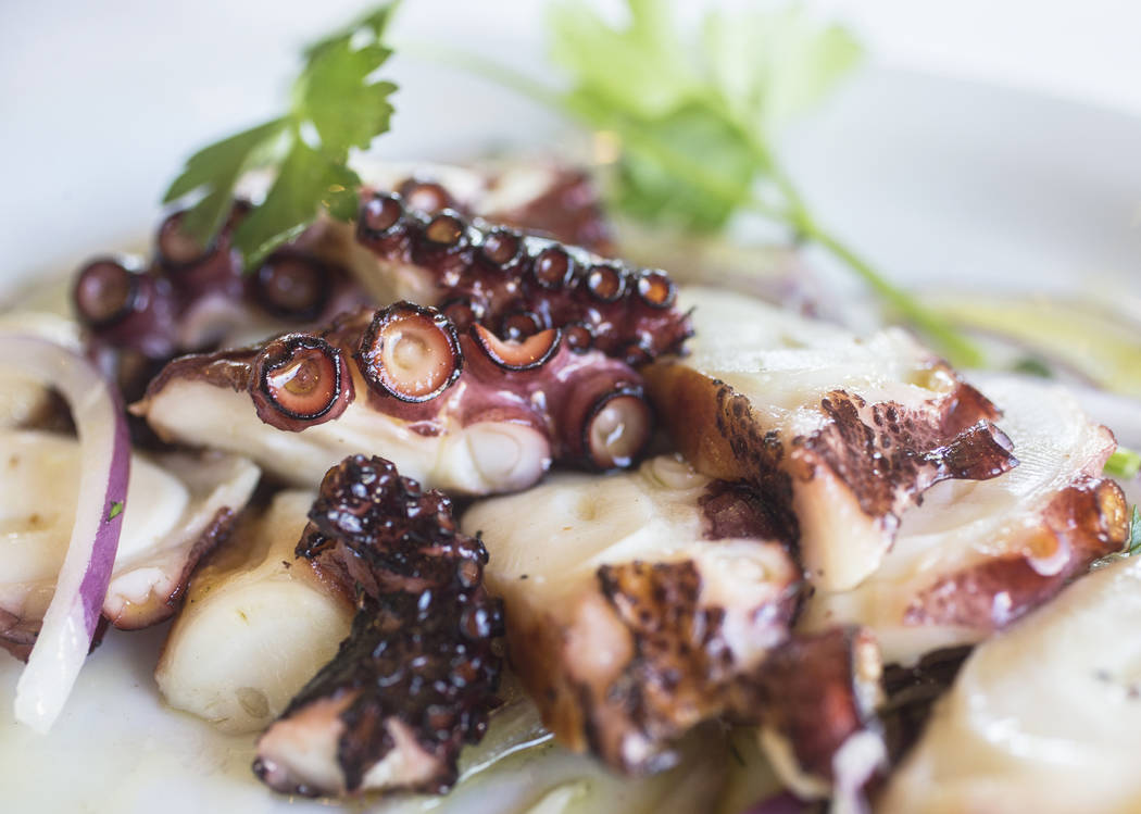 Grilled octopus with extra virgin olive oil, red onion and red vinegar at Elia on Wednesday, October 11, 2017, in Las Vegas. Benjamin Hager Las Vegas Review-Journal @benjaminhphoto