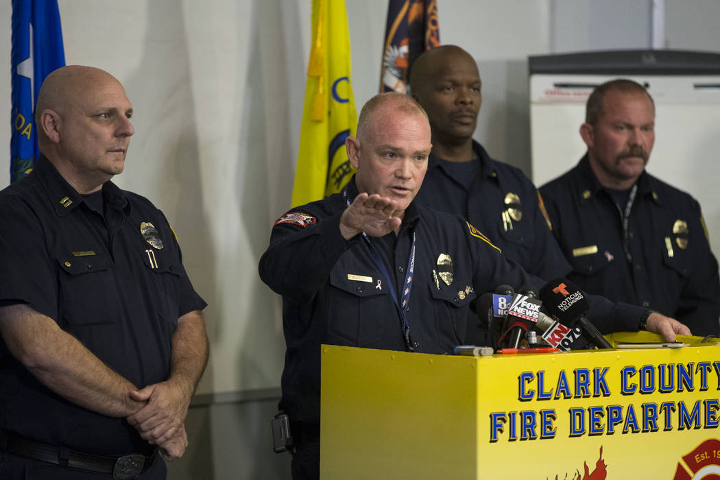 Clark County Fire Chief Greg Cassell discusses the fire and emergency medical service response to Sunday's mass shooting during a press conference at the Clark County Fire Department Training Cent ...