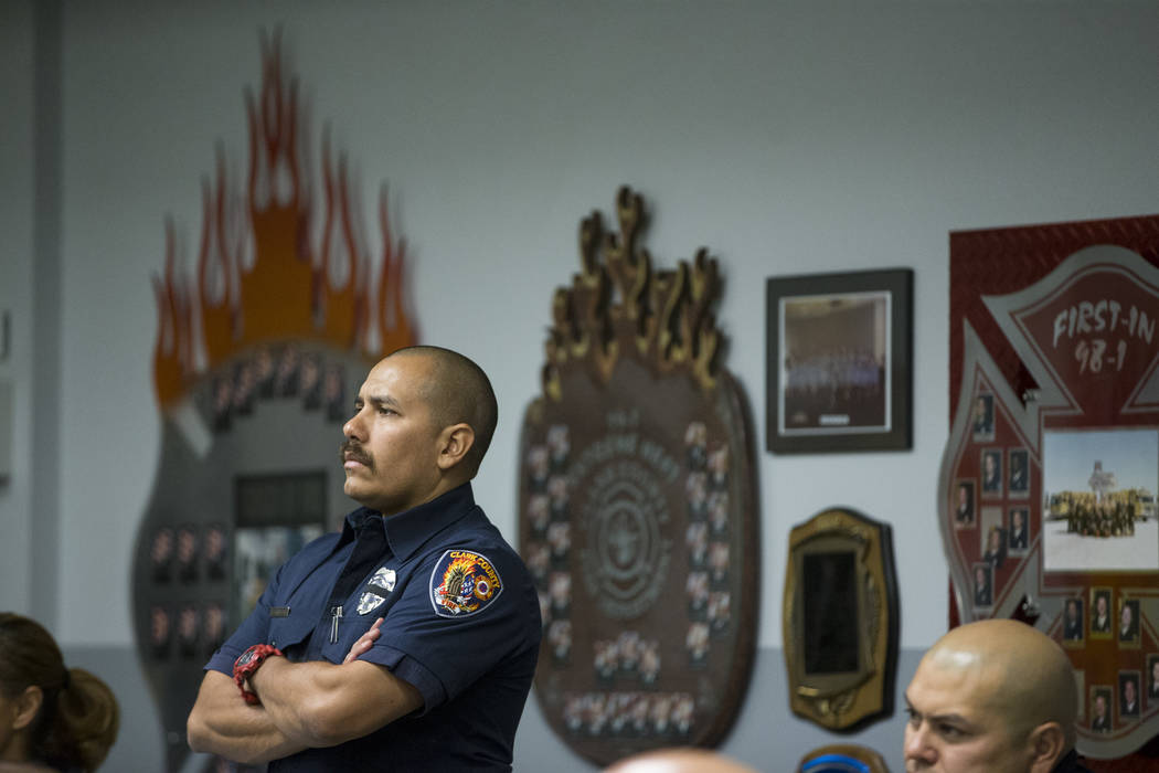 Clark County Fire Department Training Instructor Chris Carbajal during a press conference on the fire and emergency medical service response to Sundays' mass shooting, at the Clark County Fire Dep ...