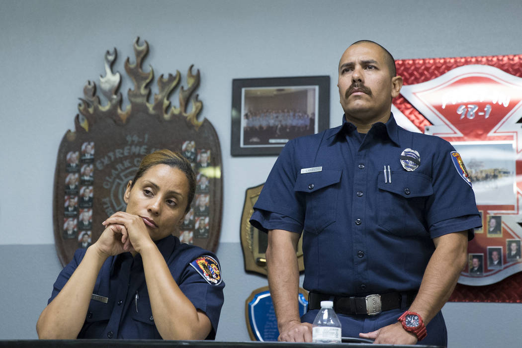 Clark County Fire Department Training Instructors Christa Fells, left, and Chris Carbajal, during a press conference on the fire and emergency medical service response to Sundays' mass shooting, a ...