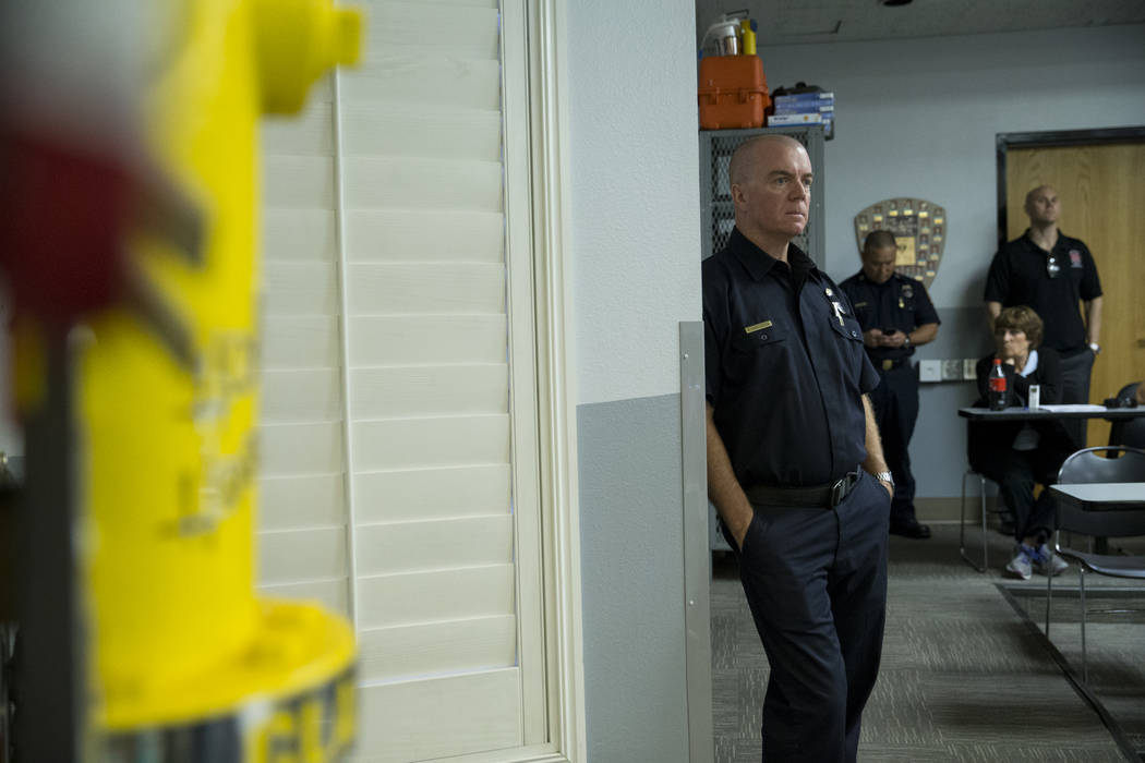 Clark County Training Officer Gary Stevenson during a press conference on the fire and emergency medical service response to Sundays' mass shooting, at the Clark County Fire Department Training Ce ...