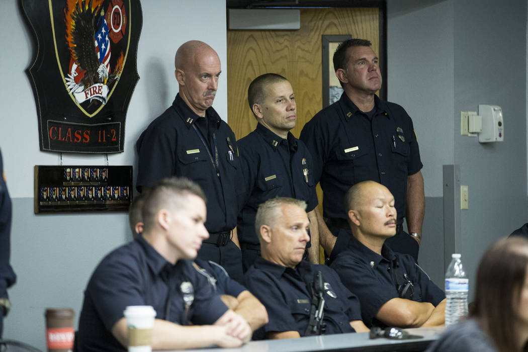 Clark County firefighters during a press conference on the fire and emergency medical service response to Sundays' mass shooting, at the Clark County Fire Department Training Center in Las Vegas,  ...
