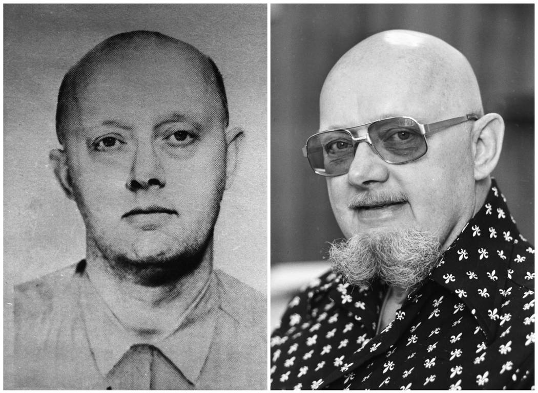 This photo combination shows an image from a 1960s FBI wanted poster of Benjamin Hoskins Paddock, left, and a 1977 file photo of Paddock, who went by the name Bruce Ericksen, when he was on the la ...