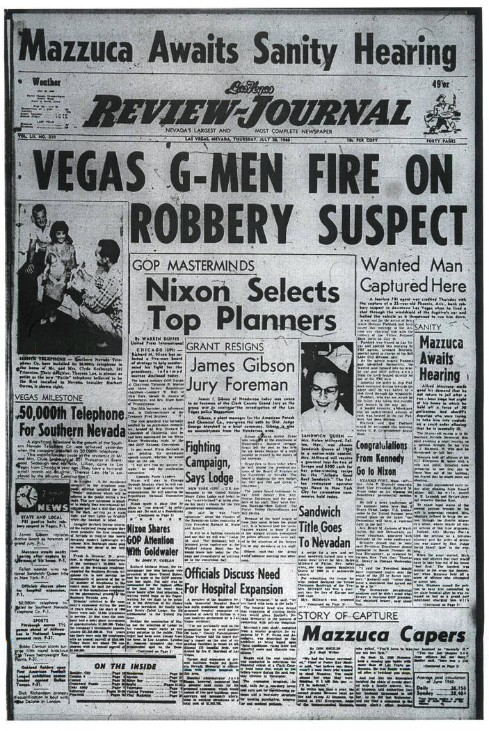 A July 28, 1960 issue of the Las Vegas Review-Journal includes an article on Benjamin Hoskins Paddock, father of Mandalay Bay gunman Stephen Paddock.