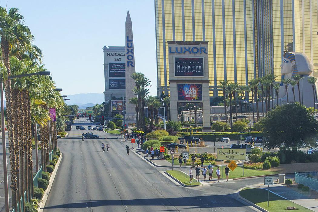 Las Vegas Boulevard south of Tropicana Avenue is clear on Monday, October 2, 2017, in Las Vegas. (Benjamin Hager Las Vegas Review-Journal)