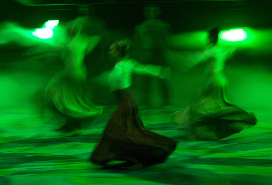 Dancers perform during a dress rehearsal in preparation for the 10th annual Choreographers' Showcase in the Mystere Theatre at Treasure Island, Friday, Oct. 6, 2017, in Las Vegas. The showcase, a  ...