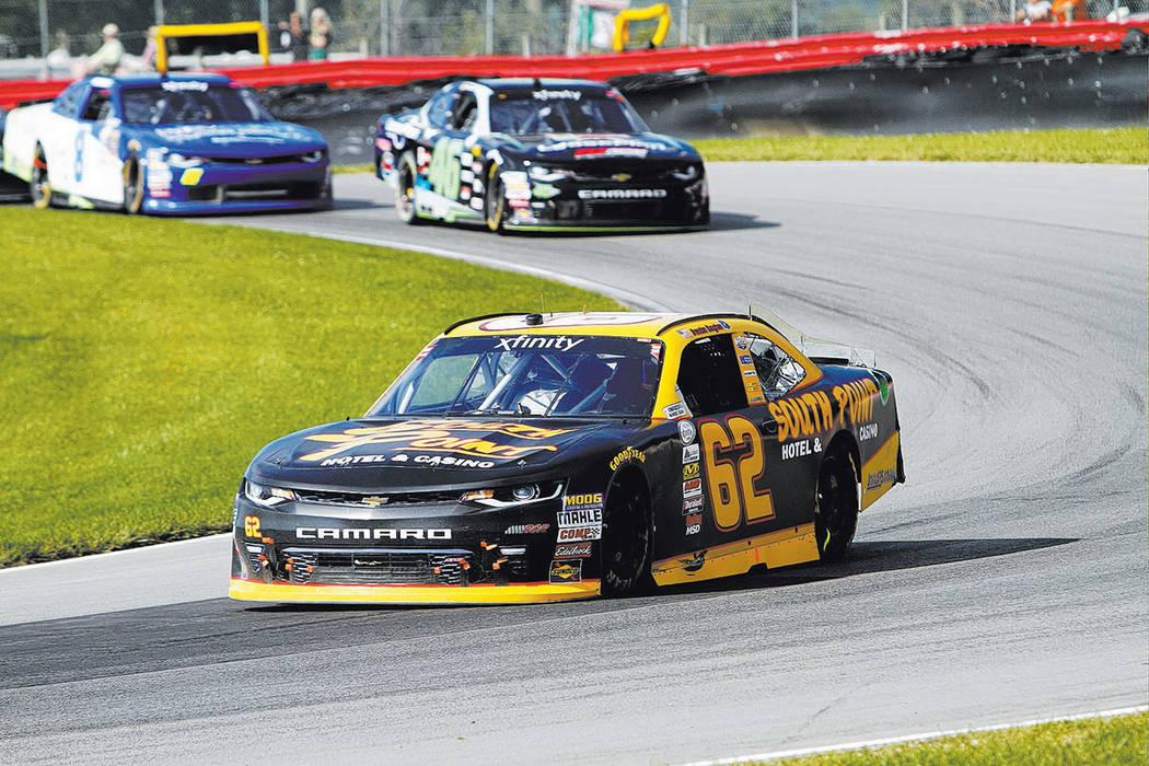 Brendan Gaughan during the NASCAR Xfinity Series auto race, Saturday, Aug. 12, 2017, at Mid Ohio Sports Car Course in Lexington, OH. (AP Photo/Tom E. Puskar)
