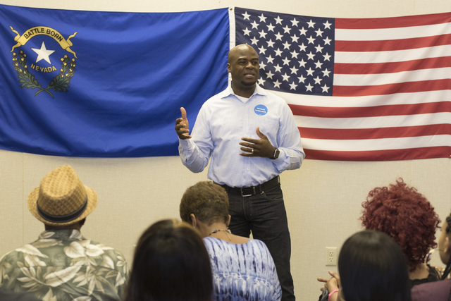 State Sen. Kelvin Atkinson speaks during the opening of Hillary Clinton's campaign office in North Las Vegas, Sunday, Aug. 28, 2016. Jason Ogulnik/Las Vegas Review-Journal