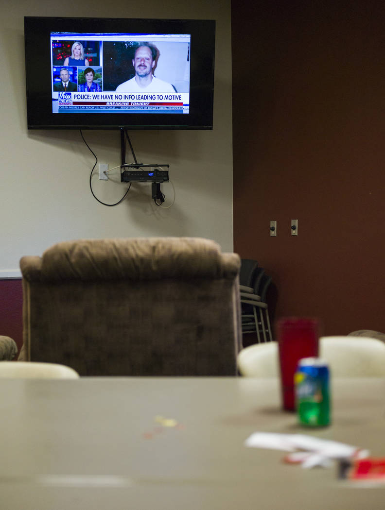 A TV inside Las Vegas Fire & Rescue Station 5 displays the suspect of Sunday's mass shooting in Las Vegas on Friday, Oct. 6, 2017. Chase Stevens Las Vegas Review-Journal @csstevensphoto