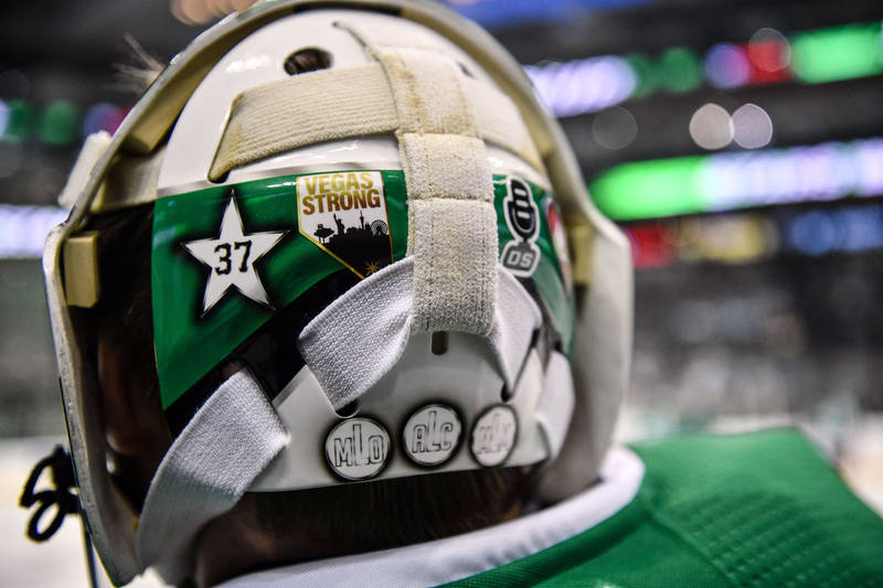 Oct 6, 2017; Dallas, TX, USA; A view of the Vegas Strong sticker on the back of the helmet of Dallas Stars goalie Kari Lehtonen (32) before the game against the Vegas Golden Knights at the America ...