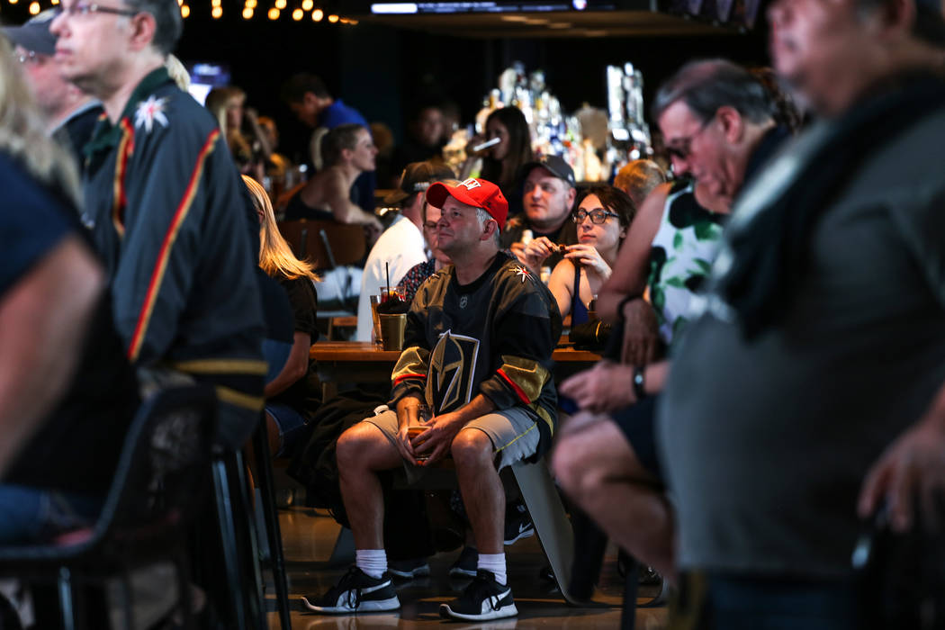 Jason Blake of Las Vegas, 46, attends a watch party for the Vegas Golden Knights season opener against the Dallas Stars at Topgolf in Las Vegas, Friday, Oct. 6, 2017. Proceeds from t-shirt sales a ...