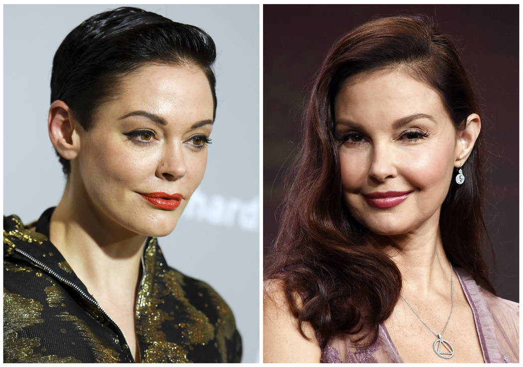 This combination photo shows actors Rose McGowan, left, and Ashley Judd.  Producer Harvey Weinstein is taking a leave of absence from his company after The New York Times released a report allegin ...