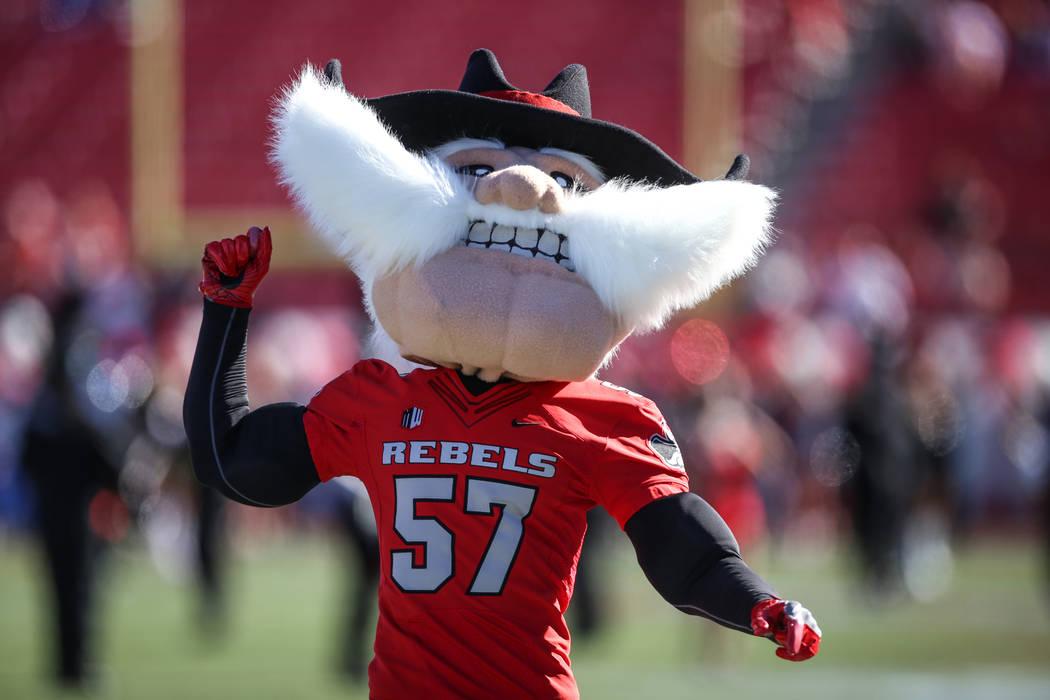 UNLV Rebels mascot cheers before the start of a football game against Utah State Aggies at Sam Boyd Stadium in Las Vegas, Saturday, Oct. 21, 2017. Joel Angel Juarez Las Vegas Review-Journal @jajua ...