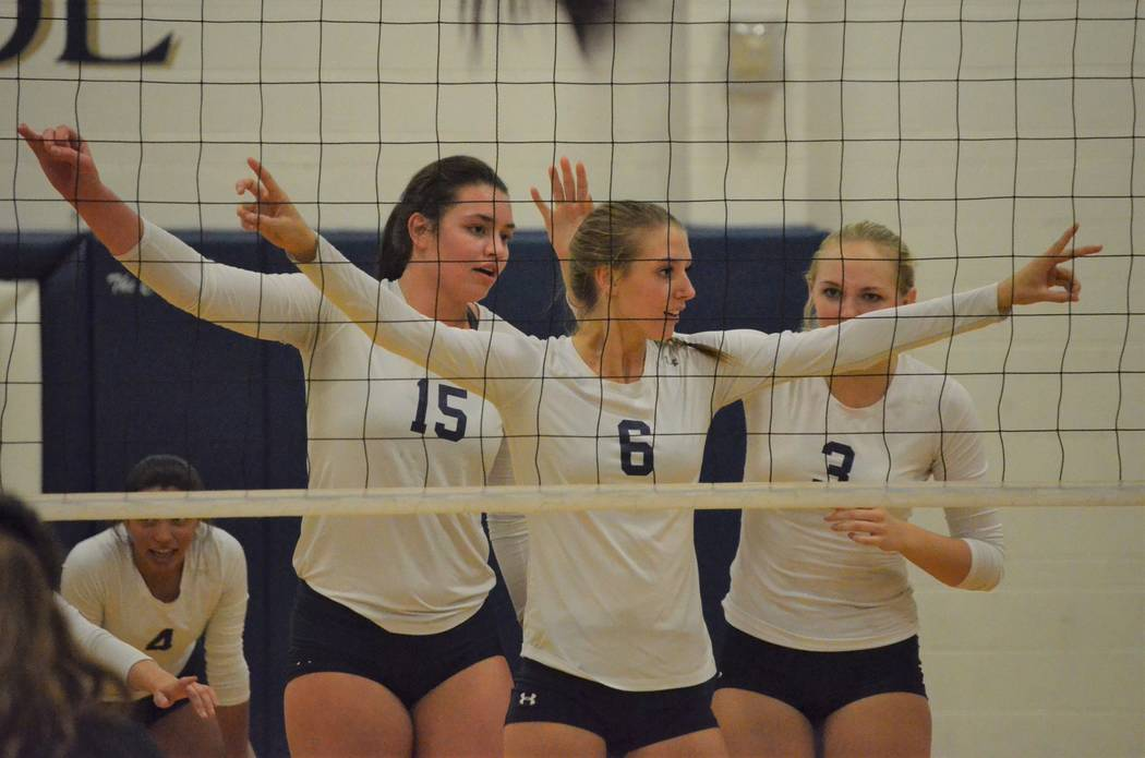 Shadow Ridge's Whittnee Nihipali (15), Madyson Lousignont (6) and Madison Norr get prepared for the net, and a Palo Verde serve, during Tuesday's girls' volleyball match at Shadow Ridge. (Courtesy ...