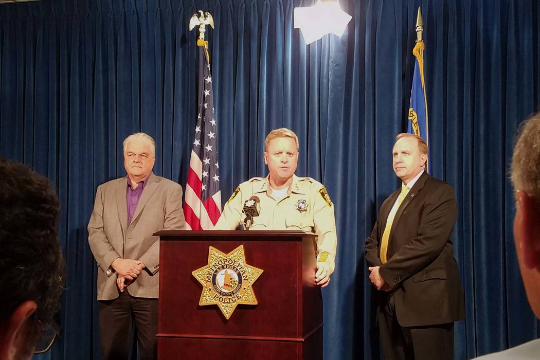 Clark County Undersheriff Kevin McMahill, center, briefs the media on the latest developments in the Sunday shooting on the Las Vegas Strip, Friday, Oct. 6, 2017, at the Metropolitan Police Depart ...