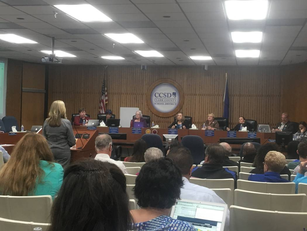 CCSD Associate Superintendent Nicole Rourke proposes the four schools to be renamed in front of the Clark County School Board on Sept. 5. (Diego Mendoza-Moyers/View) @dmendozamoyers