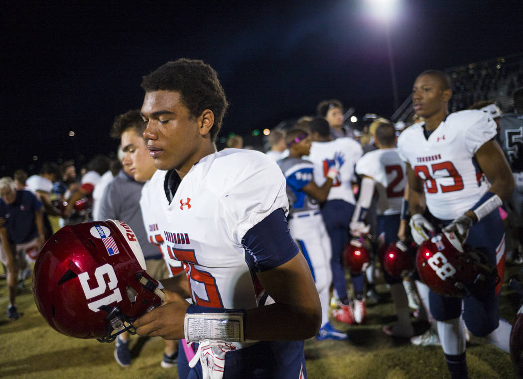 Coronado's Ayzayah Hartfield (15), son of fallen Las Vegas police officer Charleston Hartfield, before a football game at Basic High School in Henderson on Friday, Oct. 6, 2017. Hartfield died whi ...