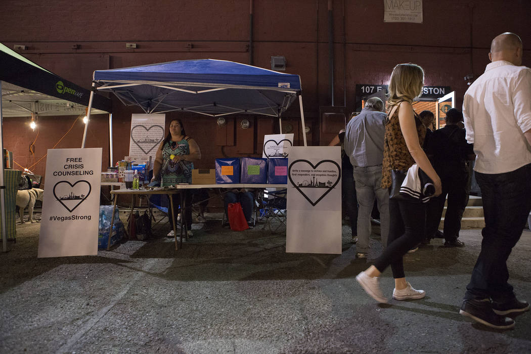 A booth advertises free counseling during First Friday in Las Vegas, Friday, Oct. 6, 2017. This is the 15th anniversary of First Friday downtown Las Vegas. Bridget Bennett Las Vegas Review-Journal ...