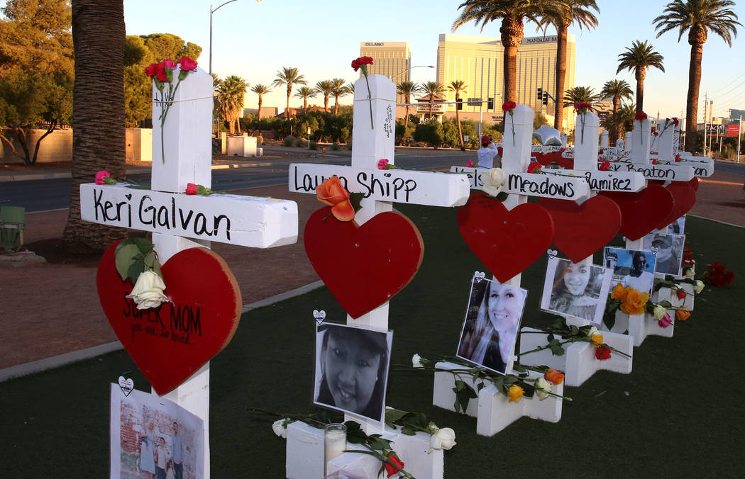 Fifty-eight white crosses stand on the Las Vegas Strip to honor the victims of Sunday's mass shooting on Friday, Oct. 6, 2017, in Las Vegas. Bizuayehu Tesfaye Las Vegas Review-Journal @bizutesfaye