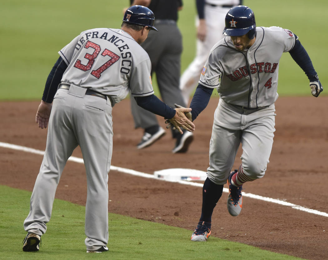 Houston Astros' George Springer celebrates a run with Astros Triple-A manager Tony DeFrancesco during the third inning of a baseball game against the Atlanta Braves, Tuesday, July 4, 2017, in Atla ...