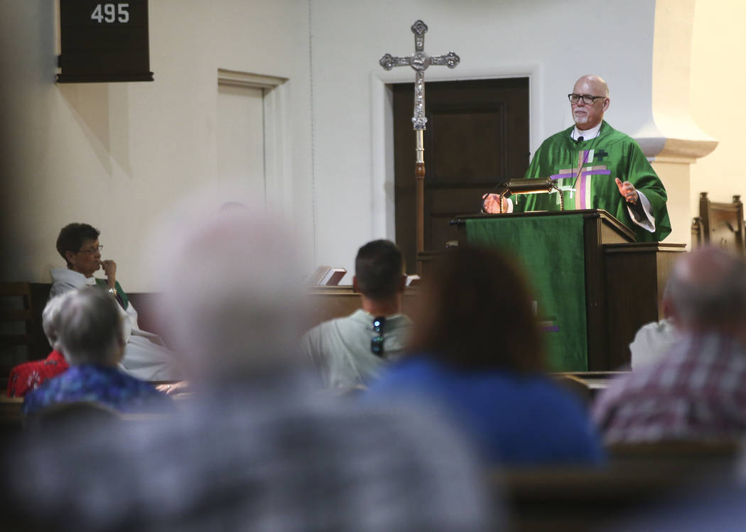 A service led by The Rev. Barry Vaughn, Rector, right, at Christ Church Episcopal in Las Vegas on Sunday, Oct. 8, 2017. Chase Stevens Las Vegas Review-Journal @csstevensphoto