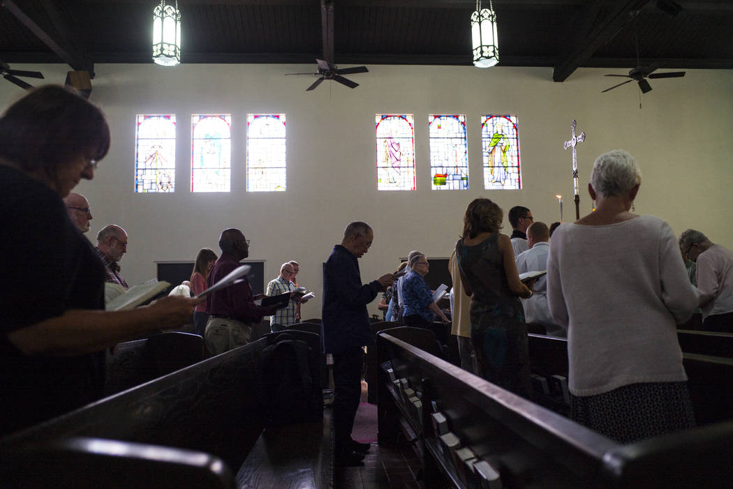 People participate during a service led by The Rev. Barry Vaughn, Rector at Christ Church Episcopal in Las Vegas on Sunday, Oct. 8, 2017. Chase Stevens Las Vegas Review-Journal @csstevensphoto