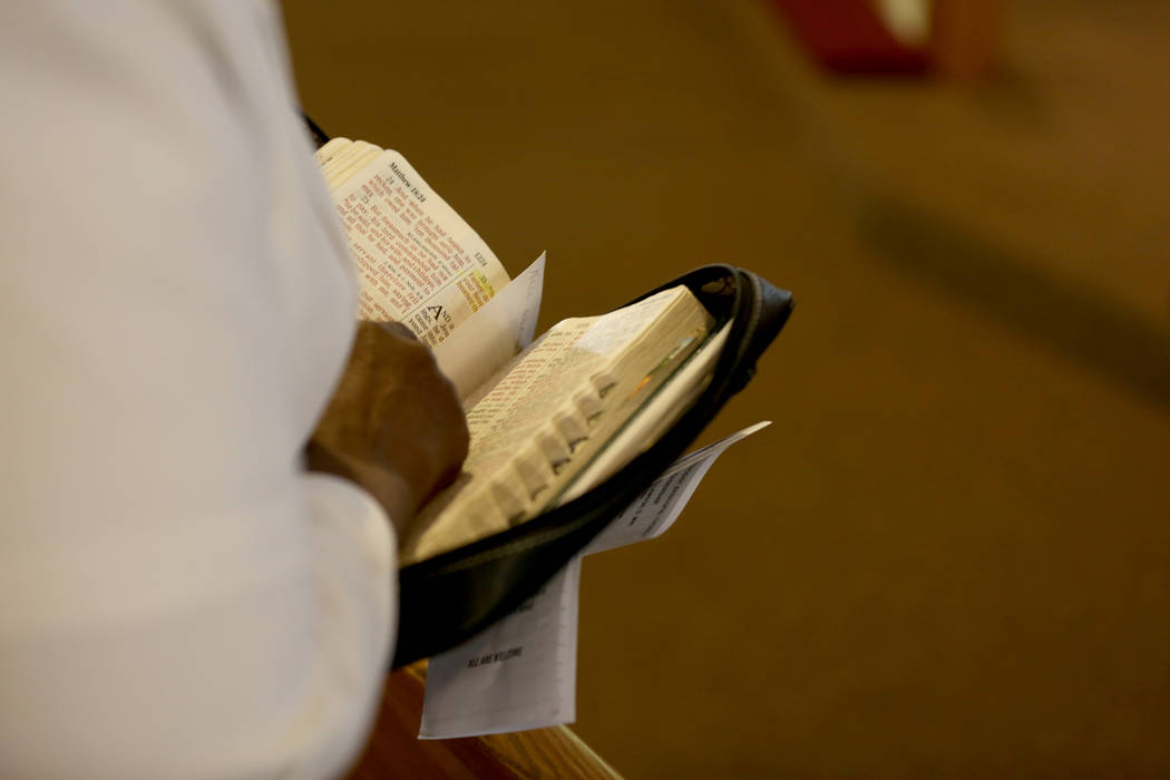 Bible passages of hope are read during a First African-Methodist Episcopal Church service in North Las Vegas, Sunday, Oct. 8, 2017. Elizabeth Brumley Las Vegas Review-Journal @EliPagePhoto
