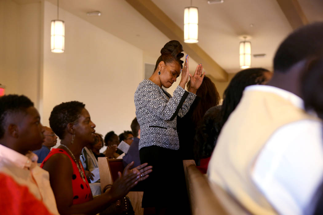 Susan Fuller worships during a First African-Methodist Episcopal Church service in North Las Vegas, Sunday, Oct. 8, 2017. Elizabeth Brumley Las Vegas Review-Journal @EliPagePhoto