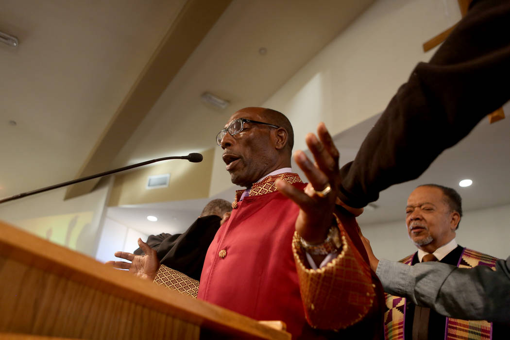 Senior minister Rev. Ralph E. Williamson leads a prayer during a First African-Methodist Episcopal Church service in North Las Vegas, Sunday, Oct. 8, 2017. Elizabeth Brumley Las Vegas Review-Journ ...