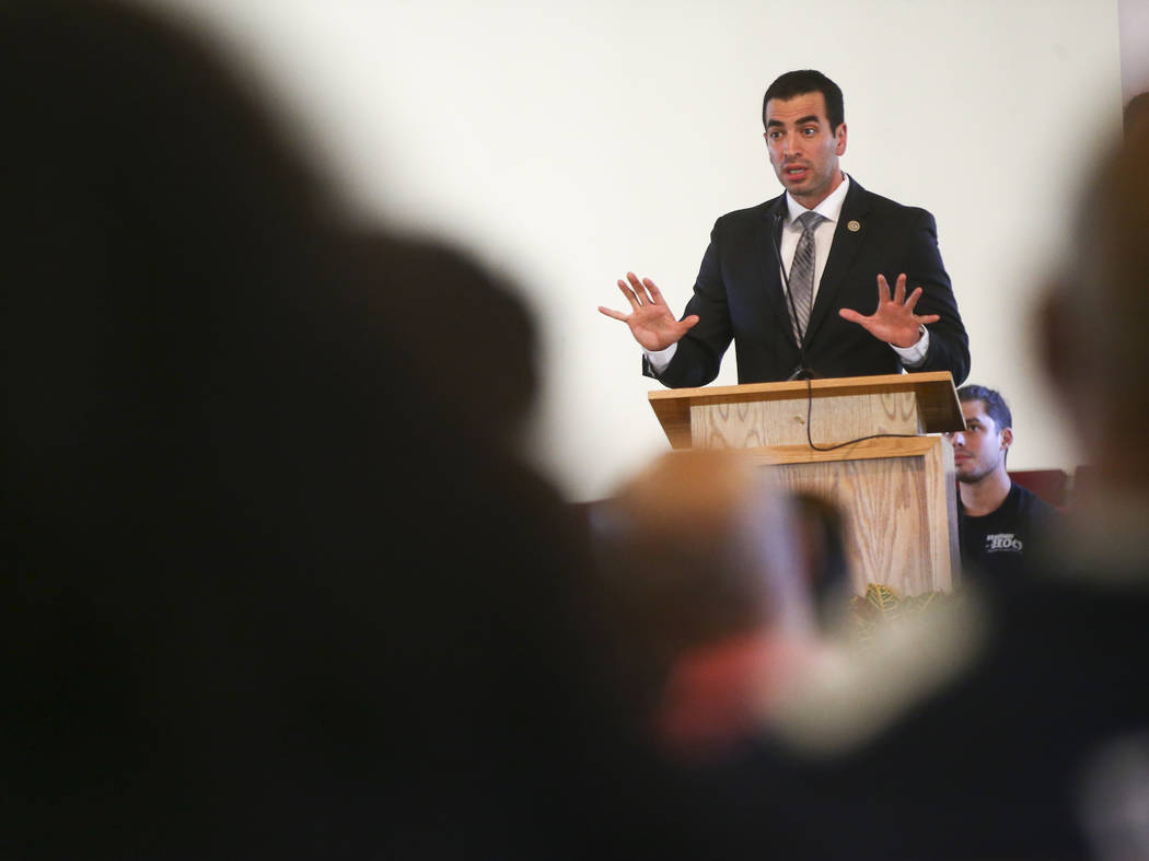 U.S. Rep. Ruben Kihuen, D-Nev., speaks during a healing through celebration event at First African Methodist Episcopal Church in North Las Vegas on Sunday, Oct. 8, 2017. Chase Stevens Las Vegas Re ...