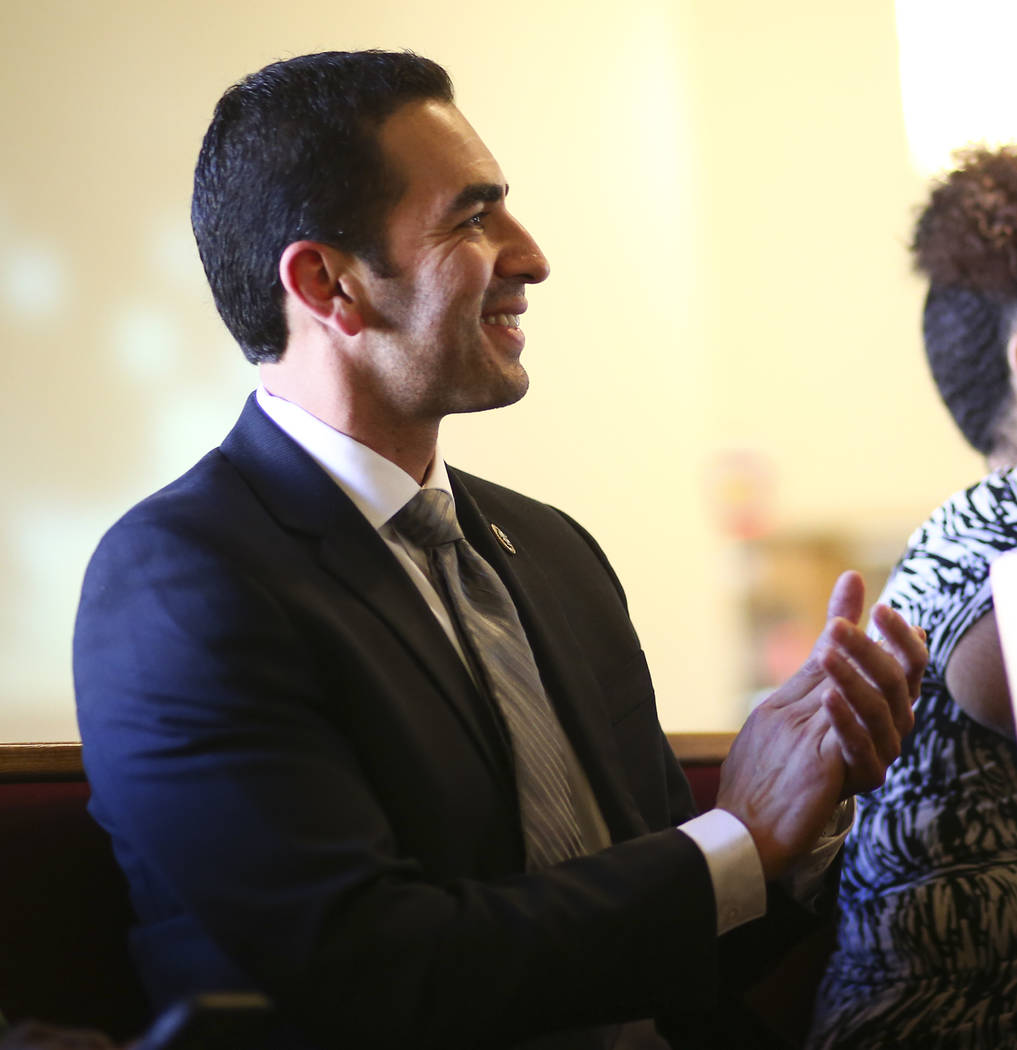 U.S. Rep. Ruben Kihuen, D-Nev., attends a healing through celebration event at First African Methodist Episcopal Church in North Las Vegas on Sunday, Oct. 8, 2017. Chase Stevens Las Vegas Review-J ...
