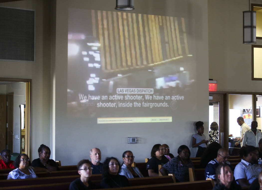 A of Sunday's mass shooting plays during a healing through celebration event at First African Methodist Episcopal Church in North Las Vegas on Sunday, Oct. 8, 2017. Chase Stevens Las Vegas Review- ...