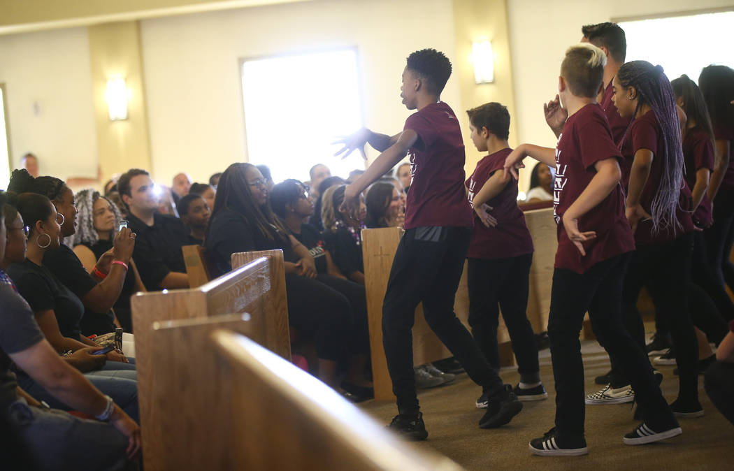Children perform a dance routine during a healing through celebration event at First African Methodist Episcopal Church in North Las Vegas on Sunday, Oct. 8, 2017. Chase Stevens Las Vegas Review-J ...