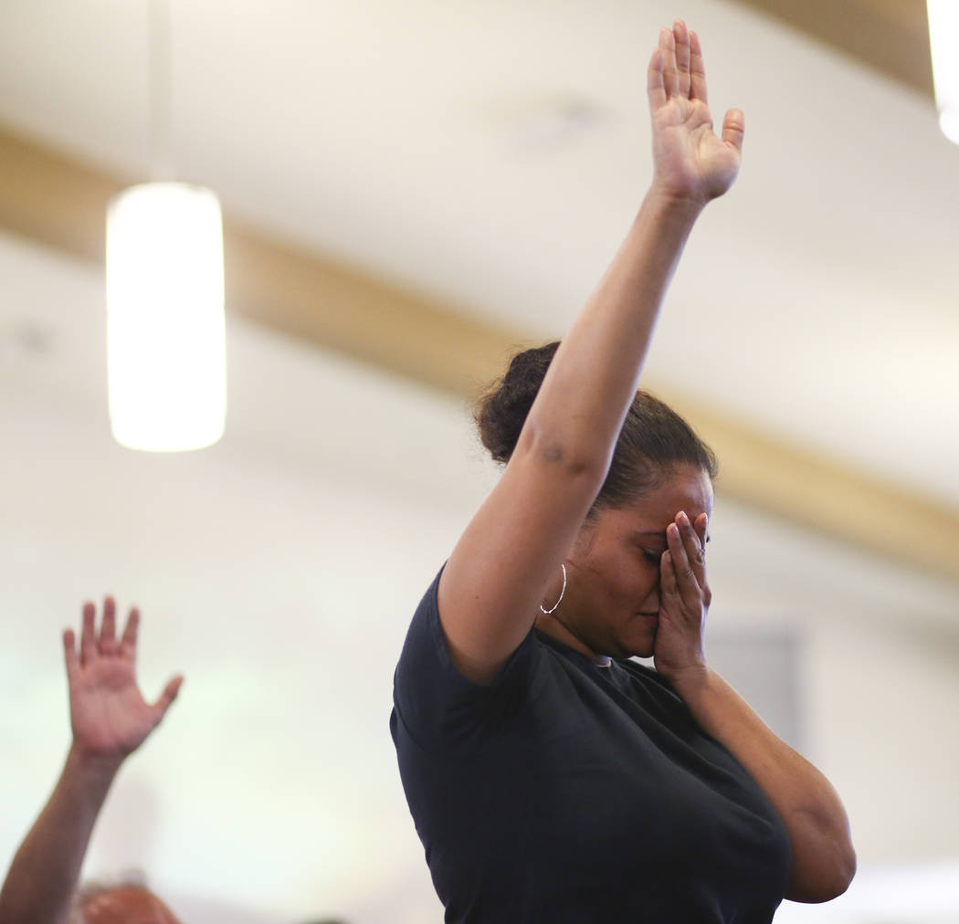 Roxana Valladares participates during a healing through celebration event at First African Methodist Episcopal Church in North Las Vegas on Sunday, Oct. 8, 2017. Chase Stevens Las Vegas Review-Jou ...
