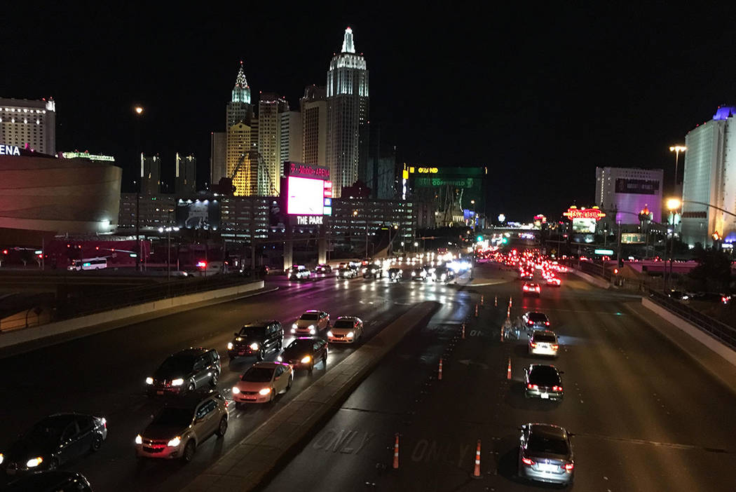 A view of the the Strip near Mandalay Bay in Las Vegas on Sunday, Oct. 1, 2017. (Chitose Suzuki/Las Vegas Review-Journal)
