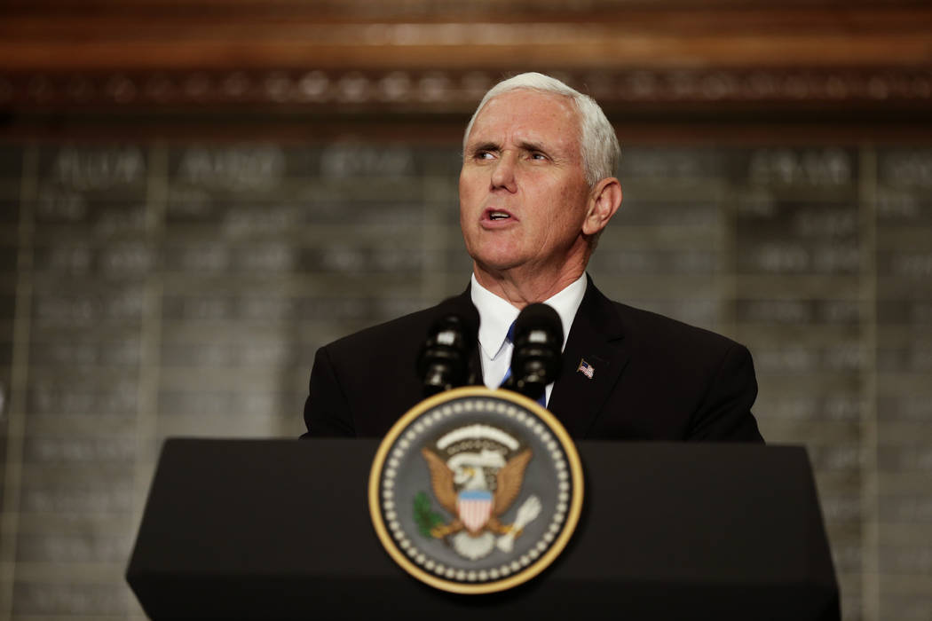 U.S. Vice President Mike Pence speaks at the Buenos Aires Stock Exchange, in Argentina, Tuesday, Aug. 15, 2017. (AP Photo/Victor R. Caivano)