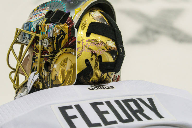 Oct 6, 2017; Dallas, TX, USA; A view of the Vegas Strong sticker on the back of the helmet of Vegas Golden Knights goalie Marc-Andre Fleury (29) before the game against the Dallas Stars at the Ame ...