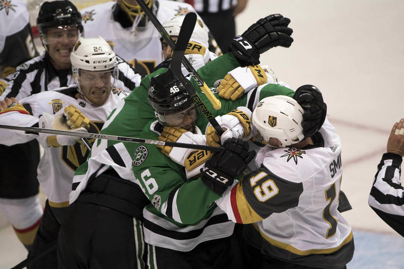 Oct 6, 2017; Dallas, TX, USA; The Dallas Stars and Vegas Golden Knights fight during the first period at the American Airlines Center. Mandatory Credit: Jerome Miron-USA TODAY Sports