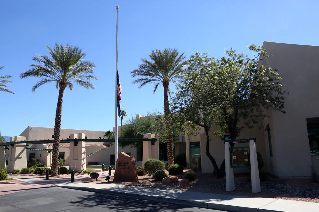 The U.S. and Nevada State flags fly at half mast in front of the Mesquite City Hall on Oct. 6, 2017. Michael Quine Las Vegas Review-Journal @Vegas88s