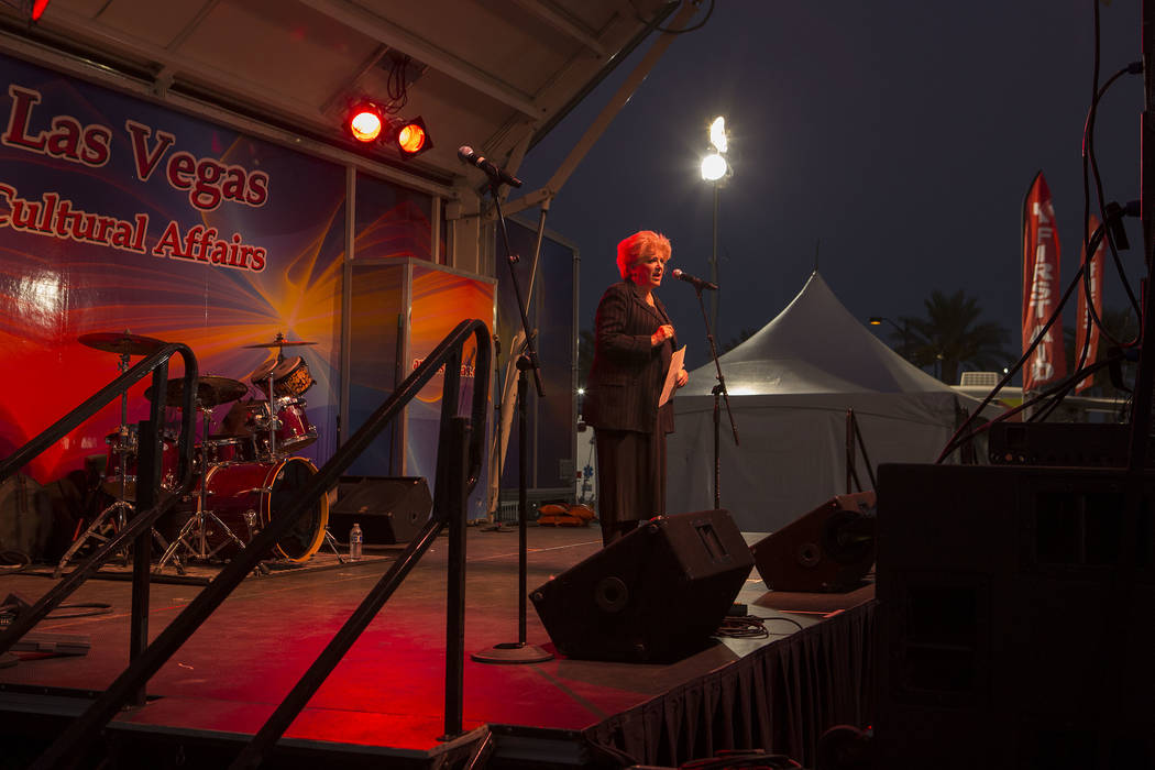 Las Vegas mayor Carolyn Goodman speaks at First Friday in Las Vegas, Friday, Oct. 6, 2017. This is the 15th anniversary of First Friday downtown Las Vegas. Bridget Bennett Las Vegas Review-Journal ...