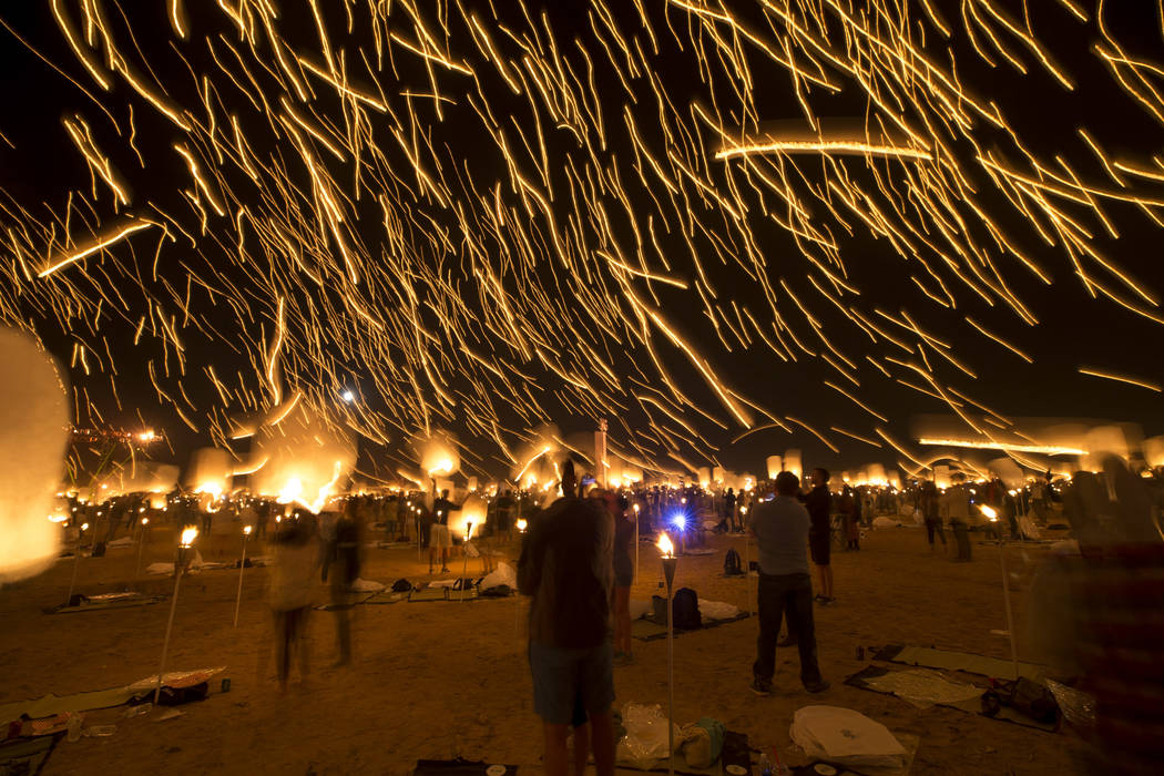 Participants release lanterns during the Rise Festival held at the Moapa River Indian Reservation on Friday, Oct. 6, 2017. Richard Brian Las Vegas Review-Journal @vegasphotograph