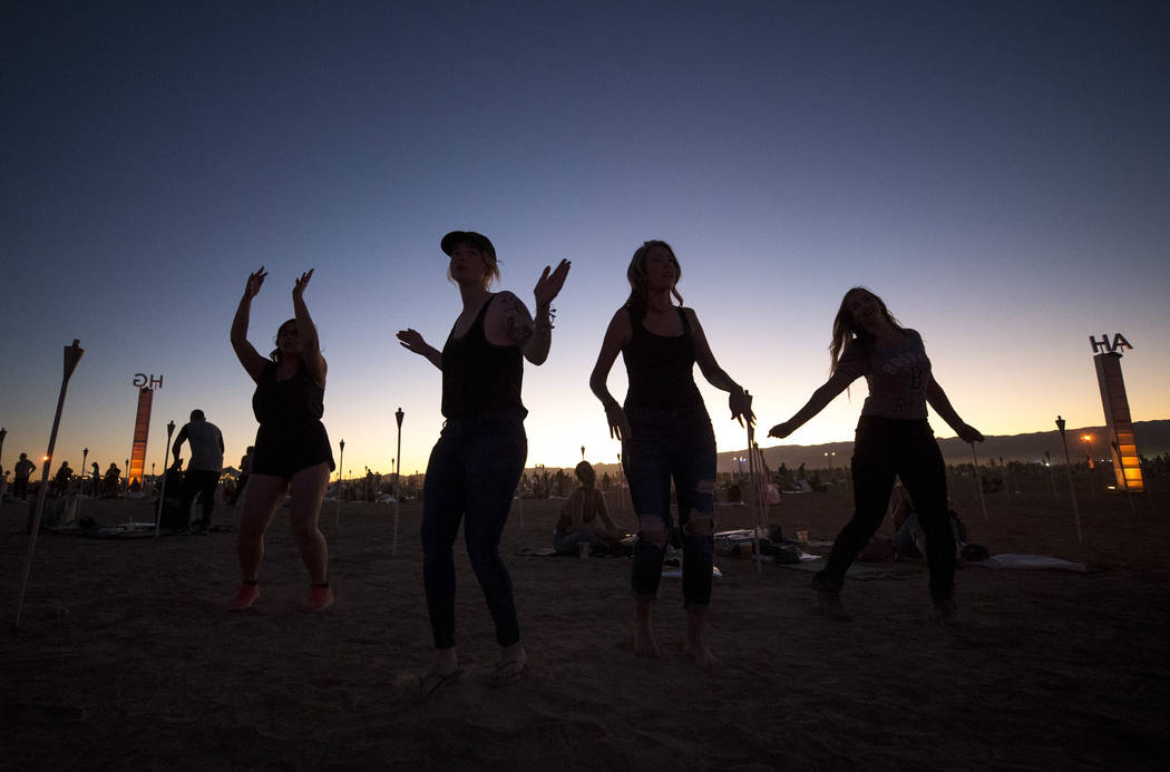Participants dance during the Rise Festival held at the Moapa River Indian Reservation on Friday, Oct. 6, 2017. Richard Brian Las Vegas Review-Journal @vegasphotograph